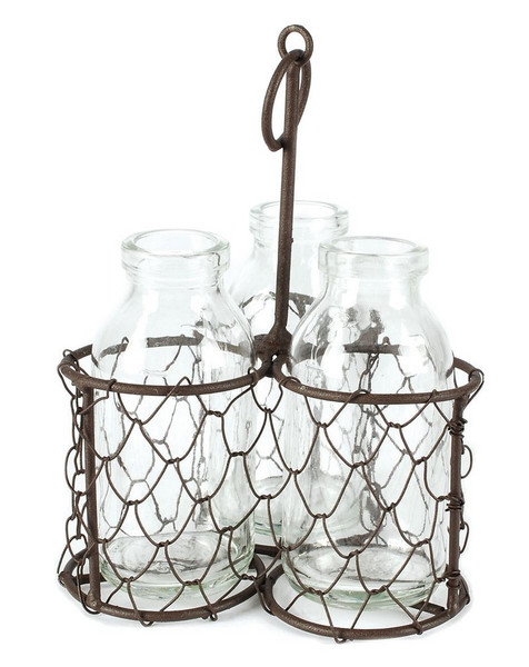 141-70527 Rustic Triple Glass Bottles With Wire - Pack of 7