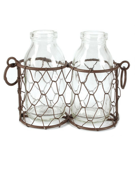 141-70529 Rustic Double Glass Bottles With Wire - Pack of 9
