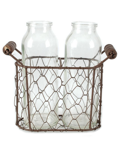 141-70530 Rustic Double Glass Bottles With Wire-Large - Pack of 6