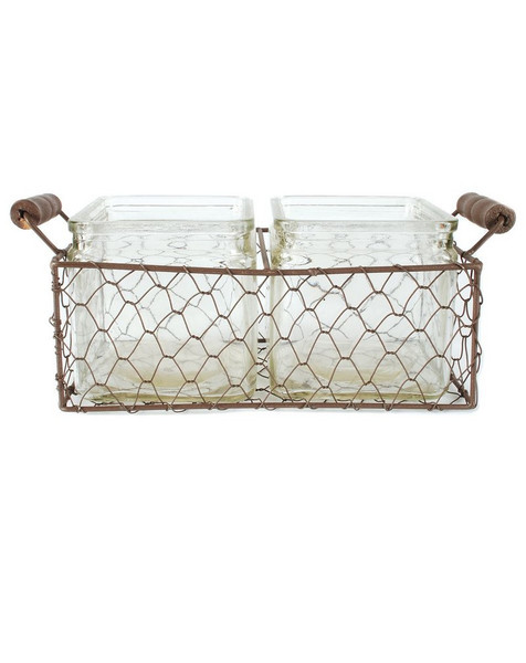 141-70531 Rustic Double Square Glass Bottles With Wire-Large-Pack of 6