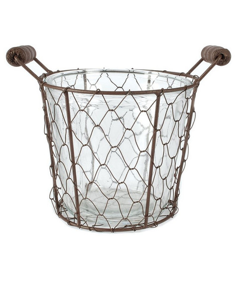 141-70536 Rustic Large Single Glass Bottle With Wire Basket-Pack of 6