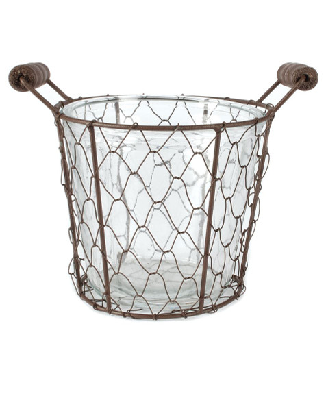 141-70537 Rustic Small Single Glass Bottle With Wire Basket-Pack of 7