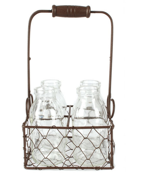 141-70538 Rustic Four Glass Bottles In Wire Baskets - Pack of 6