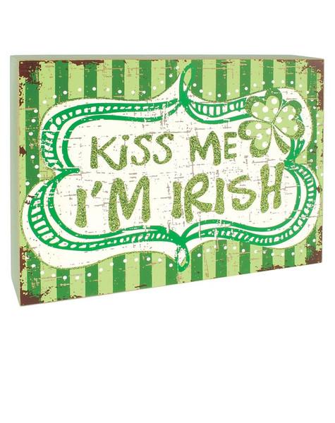 141-70639 Kiss Me I'M Irish Green Box Sign - Pack of 4