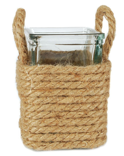 141-70686 Small Square Jar In Jute With Handles - Pack of 6