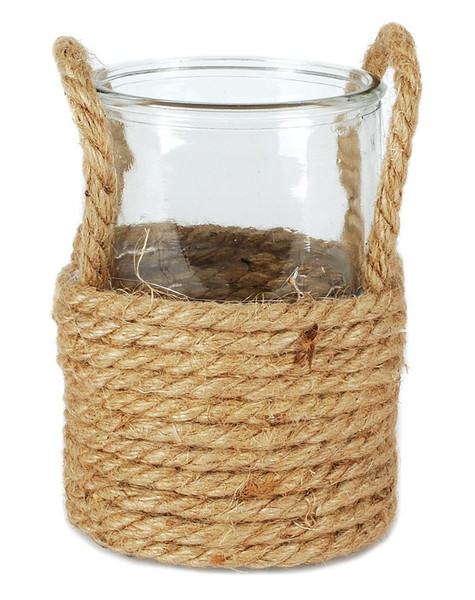 141-70687 Small Round Glass Jar In Jute With Handles - Pack of 6