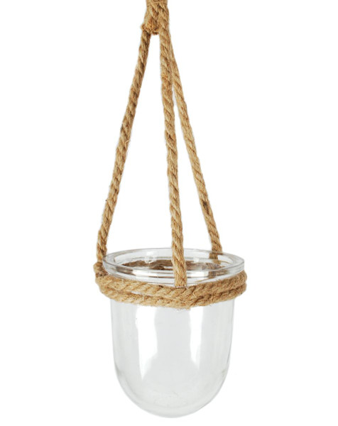 141-70688 Small Round Jute Hanging Glass Jar - Pack of 9