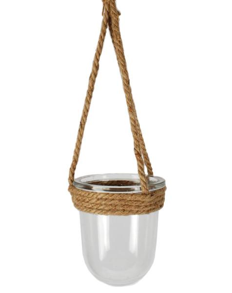 141-70689 Medium Round Jute Hanging Glass Jar - Pack of 7