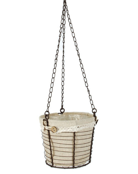 141-70690 Blossom Bucket Hanging Wire Basket With Fabric - Pack of 7