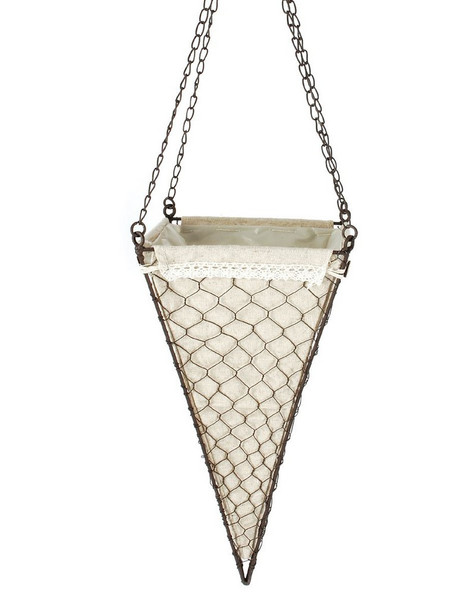 141-70691 Hanging Metal Cone Basket With Fabric - Pack of 5
