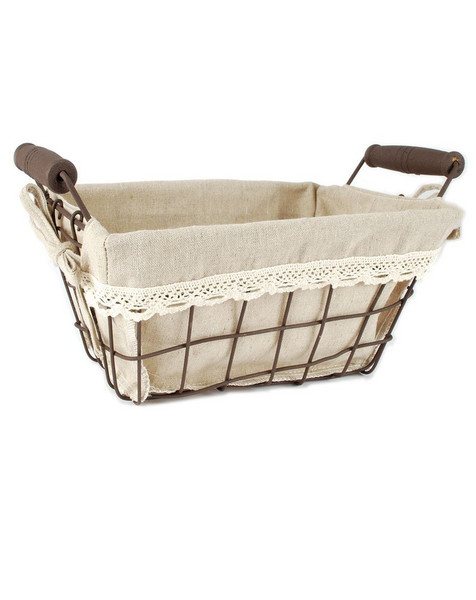 141-70708 Square Small Wire Basket With Beige Fabric - Pack of 5