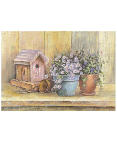 141-70761 Blossom Bucket Birdhouse / Flowers Picture - Pack of 2