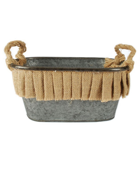 141-70776 Oval Metal Bucket With Burlap Ruffle - Pack of 3