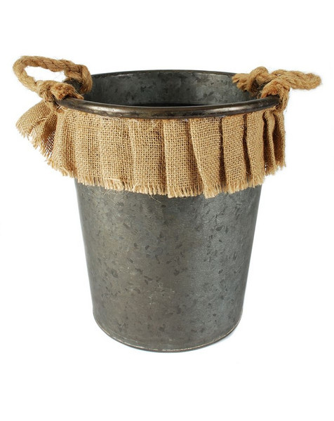 141-70777 Round Metal Bucket With Handles / Burlap - Pack of 3