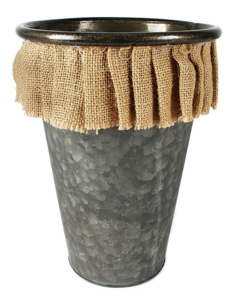 141-70778 Tall Thin Round Metal Bucket With Burlap - Pack of 3
