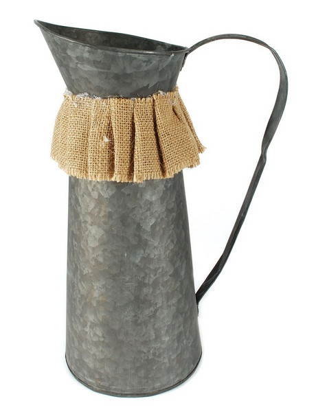 141-70779 Metal Pitcher With Handle / Burlap Ruffle - Pack of 3