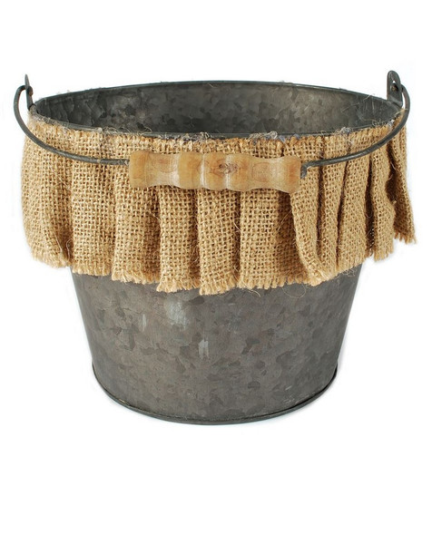 141-70886 Metal Bucket / Handle With Burlap Ruffle - Pack of 4