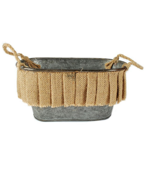 141-70887 Small Oval Bucket With Burlap Ruffle And Handles-Pack of 4