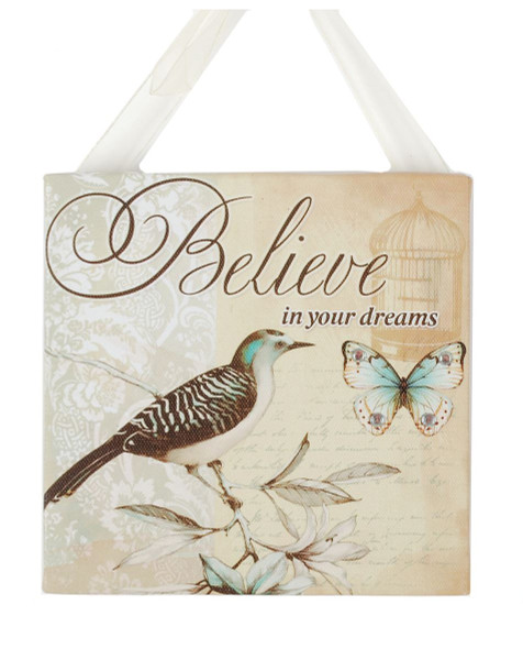 141-70906 Blossom Bucket Believe With Bird Ribbon Sign - Pack of 13