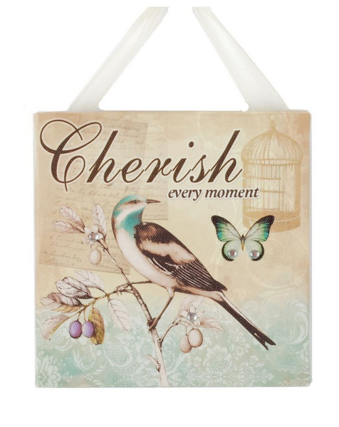 141-70907 Blossom Bucket Cherish With Bird Ribbon Sign - Pack of 13