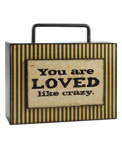 144-36831 Loved Like Crazy Box Sign With Handle - Pack of 4