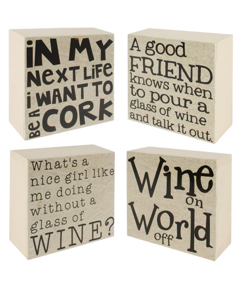 144-37142 Set of 4 Good Friend/Wine/Cork/Girl Wall Box Sign-Pack of 2