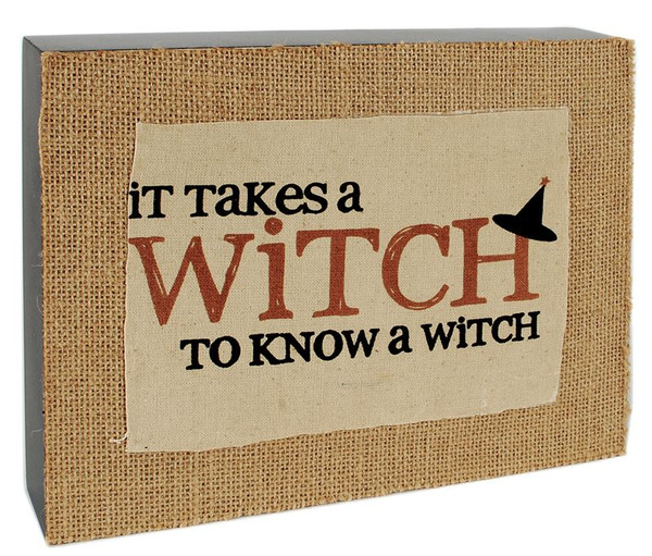 146-37106 Takes A Witch Burlap Wall Box Sign - Pack of 3
