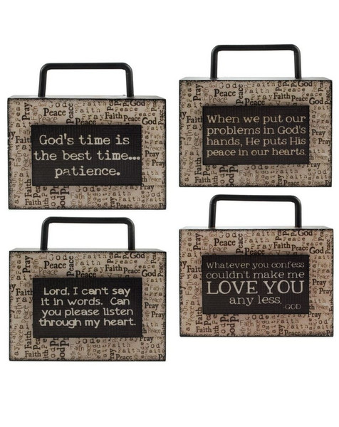 1466-36748 Blossom Bucket Set of 4 God Wood Box Signs - Pack of 2