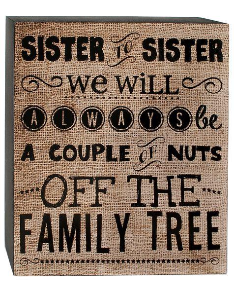 1466-38278 Sister Sister Tan / Black Wall Box Sign - Pack of 7