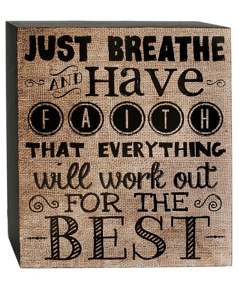 1466-38279 Just Breathe Tan / Black Wall Box Sign - Pack of 7