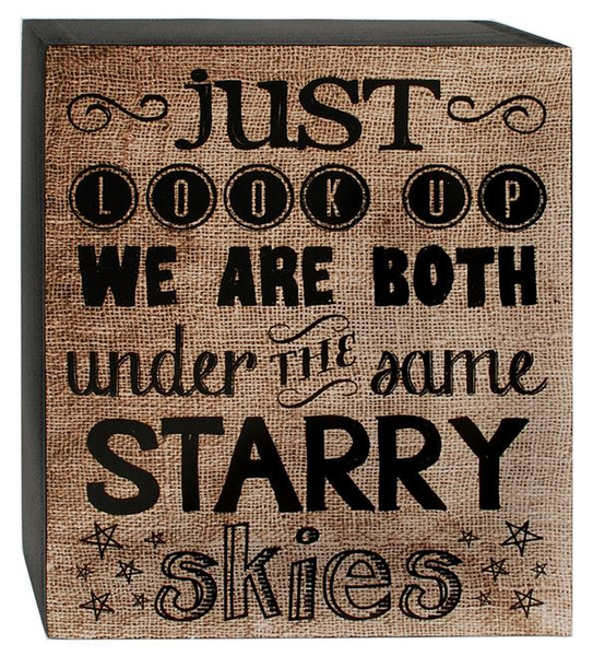 1466-38280 We Are Both Tan / Black Wall Box Sign - Pack of 7