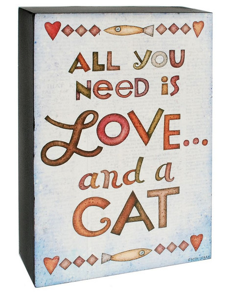1466-38964 Blossom Bucket Love And A Cat Wall Box Sign - Pack of 7