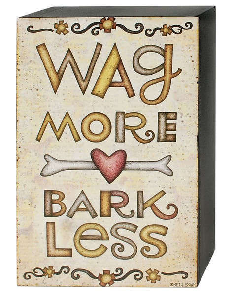 1466-38969 Blossom Bucket Wag More Wall Box Sign - Pack of 7