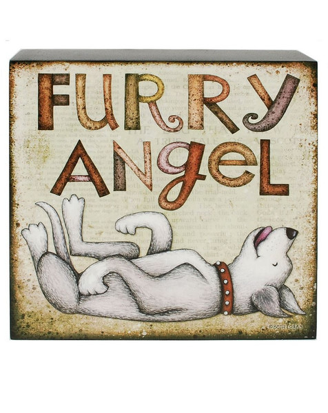 1466-38974 Blossom Bucket Furry Angel Dog Wall Box Sign - Pack of 7