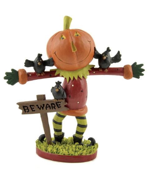 146-88826 Pumpkin Man With Beware Sign / Crows - Pack of 4