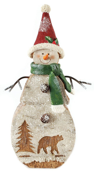 148-71008 Blossom Bucket Snowman With Woods Decor - Pack of 3