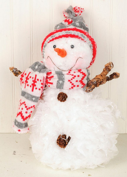 148-71060 Blossom Bucket Snowman With Grey / Red Scarf - Pack of 2
