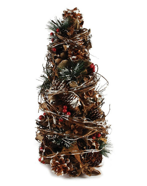 148-71128 Blossom Bucket Pinecone Tree With Red Berries - Pack of 2