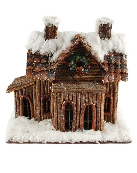 148-71173 Blossom Bucket Snow Covered House With Wreath - Pack of 2
