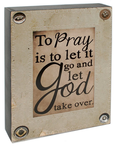 1488-38989 Blossom Bucket To Pray Wall Box Sign - Pack of 4