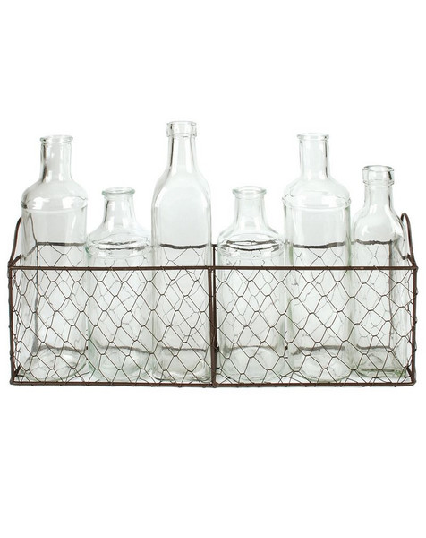 1488-70942 Wire Baket With Six Assorted Size Glass Bottles-Pack of 3