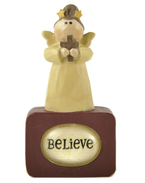1488-88477 Angel With Cross On Believe Bubble Block - Pack of 7
