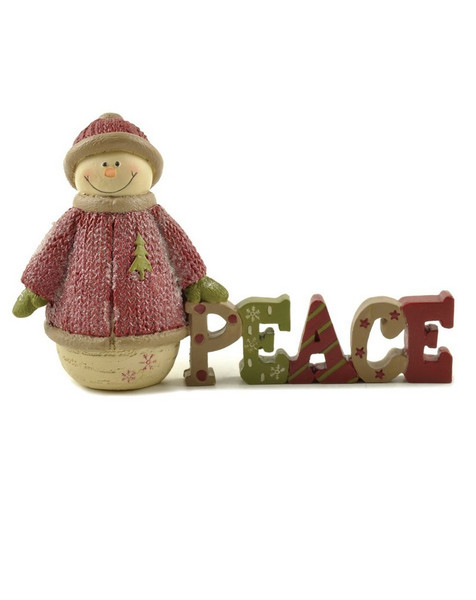 148-88974 Blossom Bucket Peace With Snowman In Red - Pack of 4