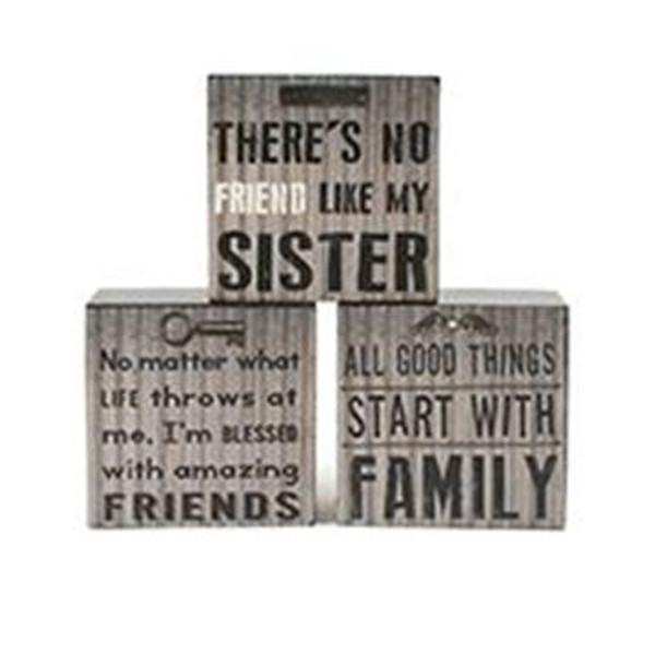 1511-37372 Set of 3 Family/Sister/Friends Wall Box Signs-Pack of 3