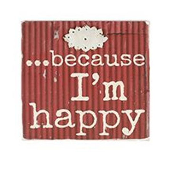 1511-37377 Blossom Bucket I'M Happy Wall Box Sign (8X8) - Pack of 4
