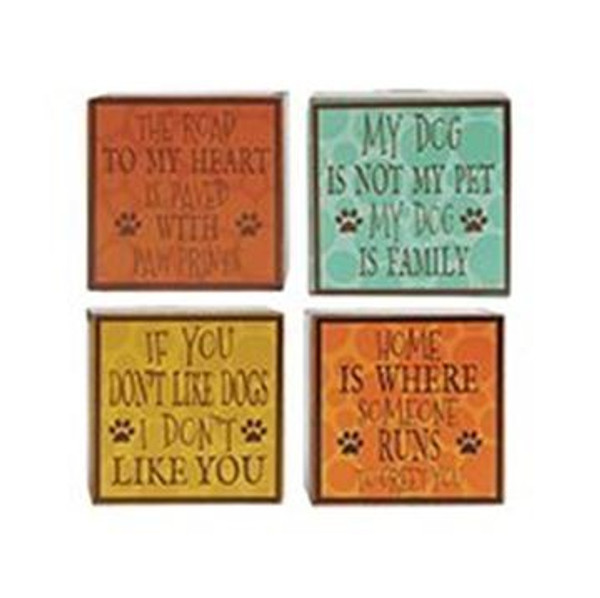 1511-37513 Blossom Bucket Set of 4 Dog Wall Box Signs - Pack of 2