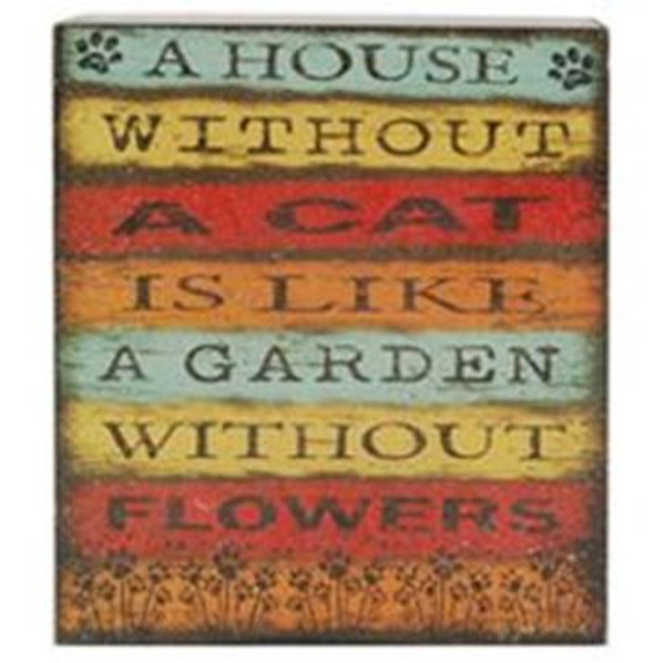 1511-37536 House Without A Cat Wall Box Sign - Pack of 6
