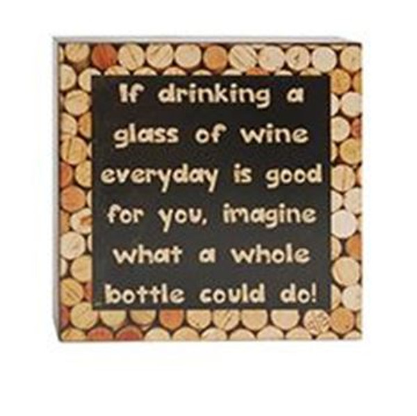 1511-37546 Drinking A Glass Of Wine Wall Box Sign - Pack of 6