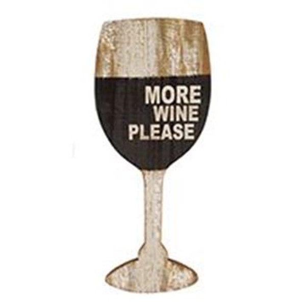 1511-71814 Blossom Bucket More Wine Please Glass Sign - Pack of 5
