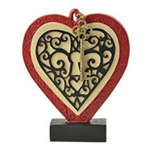 1512-10410 Blossom Bucket Heart On Block With Key - Pack of 7